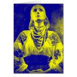 Vintage Ukrainian Flag Woman Card