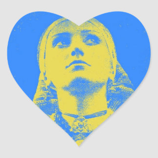Vintage Ukrainian Flag Woman Heart Sticker