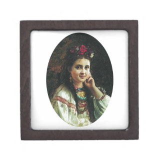 Vintage Ukrainian Woman Keepsake Box