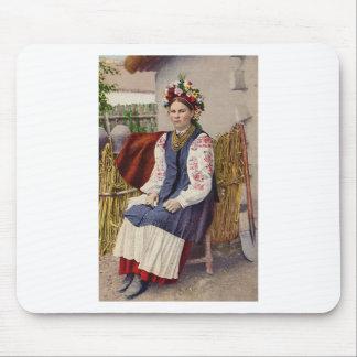 Vintage Ukrainian Woman Mouse Pad