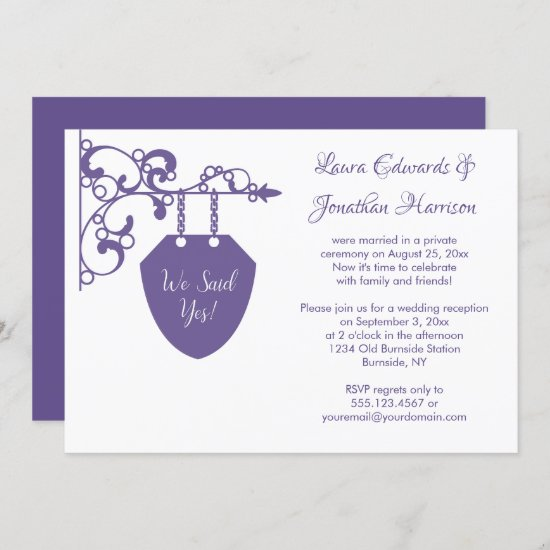 Vintage Ultra Violet Sign Reception Only Wedding Invitation