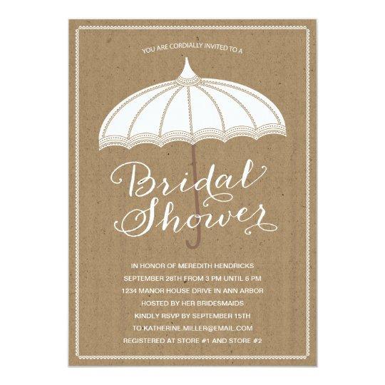 vintage umbrella bridal shower invite