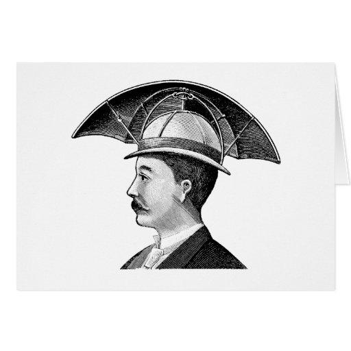 Vintage Umbrella Hat Steampunk Invention Greeting Cards