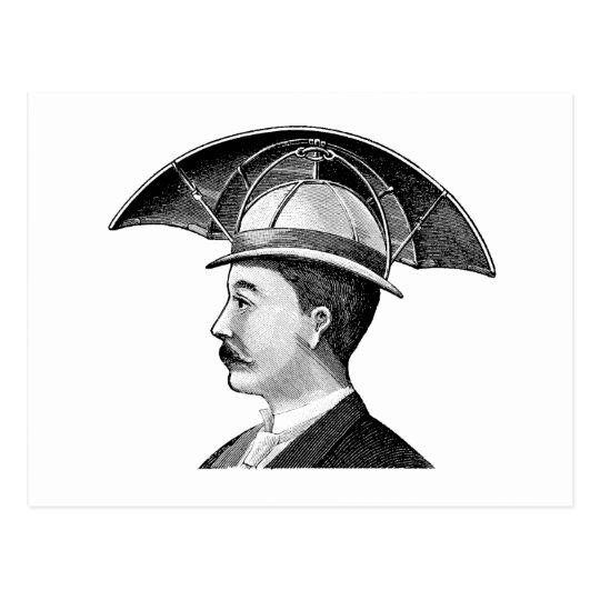 8e16c18596ffb Vintage Umbrella Hat Steampunk Invention Postcard