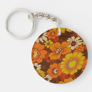 Vintage Umbrella Pattern and Peace Sign Keychain