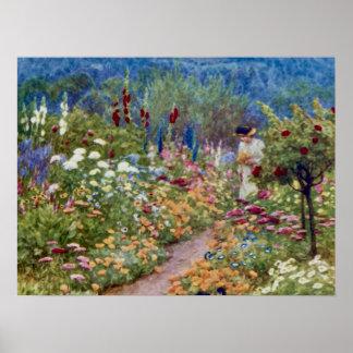 Vintage un jardín inglés del país póster