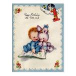 Vintage una postal del cumpleaños de los muchachos