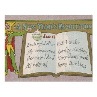 Vintage: Una resolución del Año Nuevo - Postal