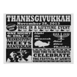 Vintage una vez en un poster de Thanksgivukkah del