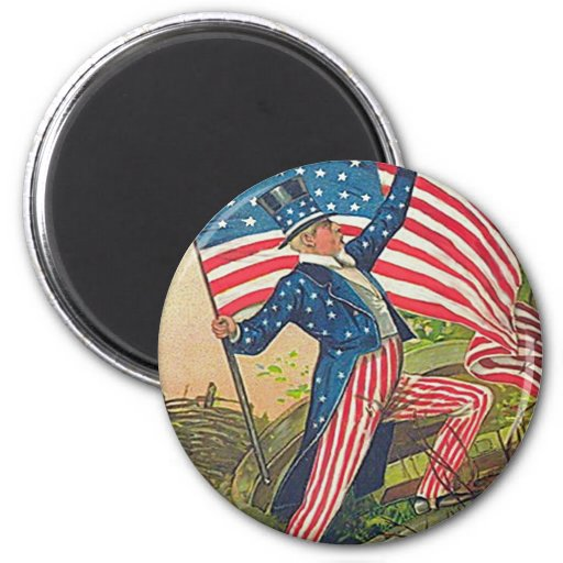 Vintage Uncle Sam and American Flag 2 Inch Round Magnet