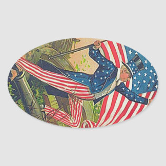 Vintage Uncle Sam and American Flag Oval Sticker