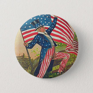 Vintage Uncle Sam and American Flag Pinback Button