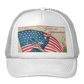 Vintage Uncle Sam and American Flag Trucker Hat
