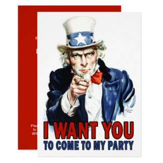 Vintage Uncle Sam - Come to my Party Invitation