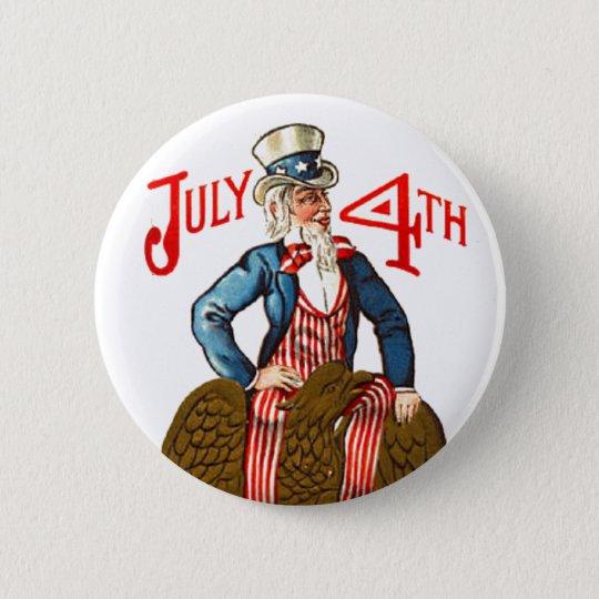 Vintage Uncle Sam Eagle July 4th Pinback Button