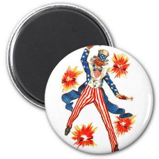 Vintage Uncle Sam Fireworks July 4th Magnet
