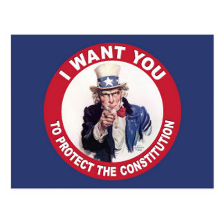 Vintage Uncle Sam I WANT YOU - Constitution Postcard