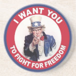 Vintage Uncle Sam I WANT YOU Drink Coasters