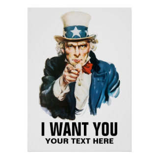 Vintage Uncle Sam I Want You Personalized Posters