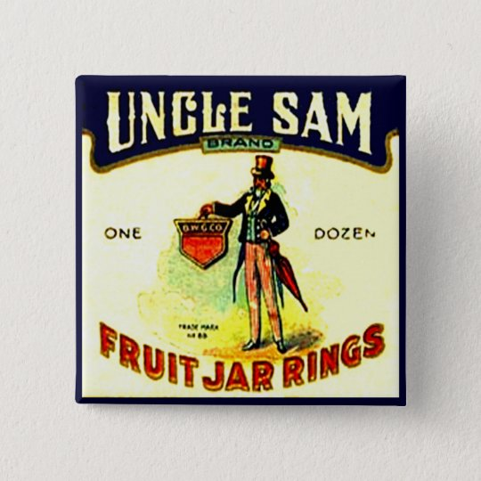 Vintage Uncle Sam July 4th Fruit Jar Rings Box Art Button