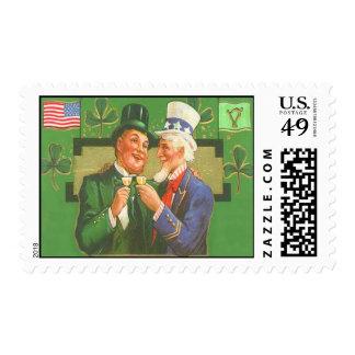 Vintage Uncle Sam Leprechaun St Patrick's Day Card Stamp