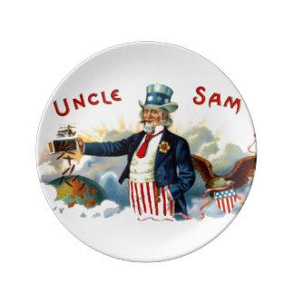 Vintage Uncle Sam Patriotic Cigar Label July 4th Porcelain Plates