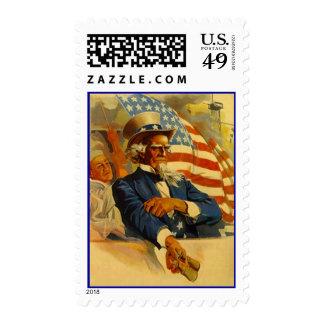 Vintage Uncle Sam w/ Binoculars On Navy Ship Flag Postage