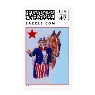 VINTAGE UNCLE SAM WITH A CALVARY MOUNT ARMY HORSE POSTAGE