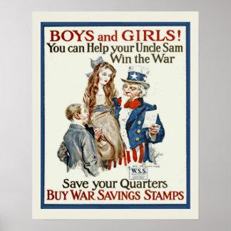 Vintage Uncle Sam WW1 War Stamp Drive Poster