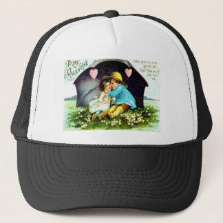 Vintage Under Umbrella Hearts Valentine Trucker Hat