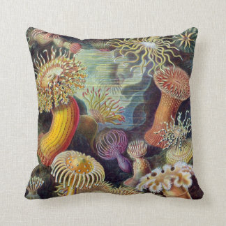 Vintage Underwater Sea Anemones by Ernst Haeckel Throw Pillow