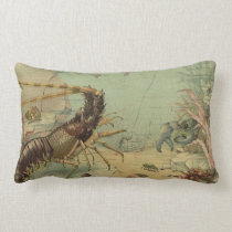 Vintage Underwater Sea Life, Animals in the Ocean Lumbar Pillow