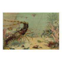 Vintage Underwater Sea Life, Animals in the Ocean Poster