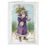 ¡Vintage único Santa en púrpura!  Tarjeta de Navid
