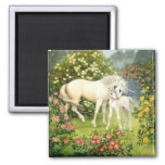 Vintage Unicorn And Foal 2 Inch Square Magnet