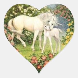 Vintage Unicorn And Foal Heart Sticker