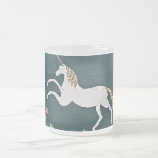Vintage unicorn frosted glass coffee mug