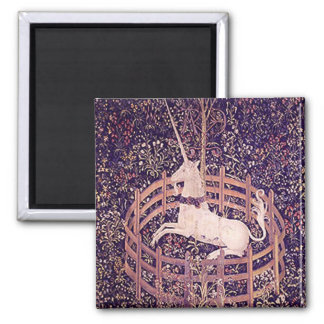 Vintage Unicorn In Captivity Tapestry 2 Inch Square Magnet