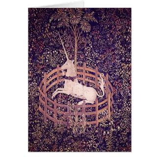 Vintage Unicorn In Captivity Tapestry Cards