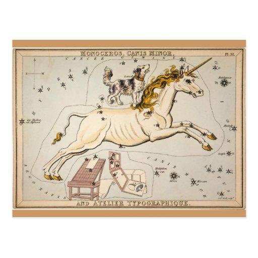 Vintage Unicorn Star Constellation  Map Postcard
