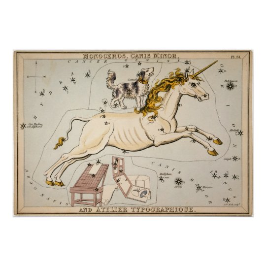 Vintage Unicorn Star Constellation Map Print