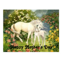 Vintage Unicorns Mother's Day Postcard