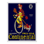 Vintage Unicycle Poster: Continental Tires