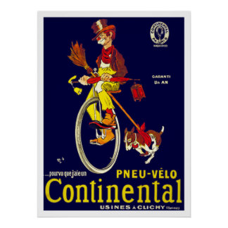 Vintage Unicycle Poster: Continental Tires Poster