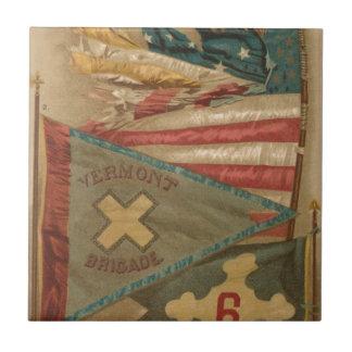 Vintage Union Battle Flags Vermont Ceramic Tile
