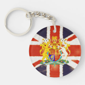 Vintage Union Jack Coat of Arms Acrylic Keychain
