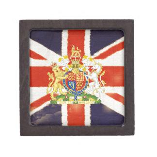 Vintage Union Jack Coat of Arms Keepsake Box
