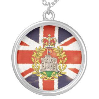 Vintage Union Jack Coat of Arms Silver Necklace