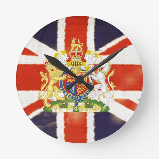 Vintage Union Jack Coat of Arms Wall Clock