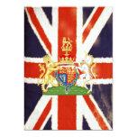 Vintage Union Jack con las invitaciones del escudo Comunicado Personal